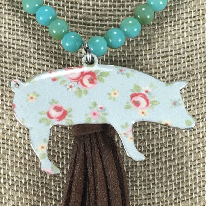 Floral Pig Tassel Necklace - Turq