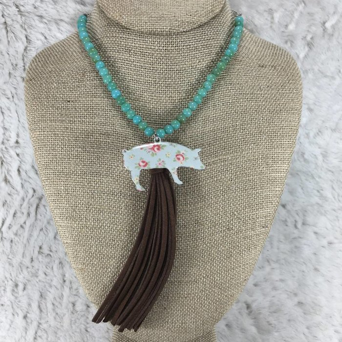 Floral Pig Tassel Necklace - Turq