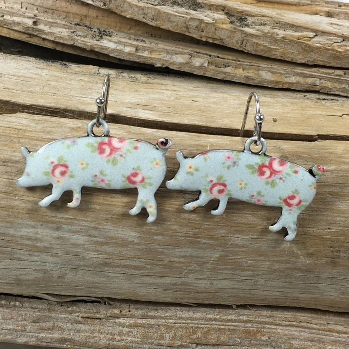 Turq Floral Pig Earrings