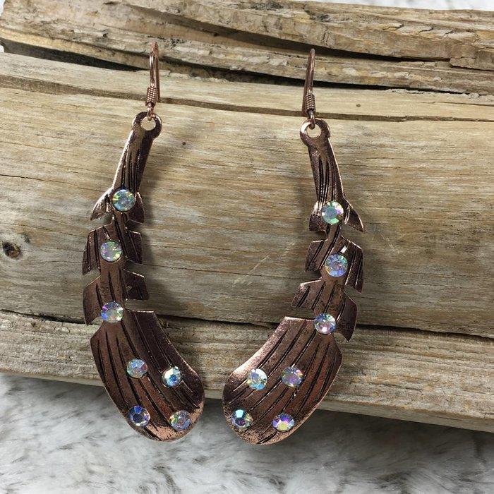 Feather Rhinestone Earrings - Copper AB