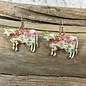 Cream Floral Cow Earrings