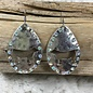 Cow Silver AB Oval Cut Out Earrings