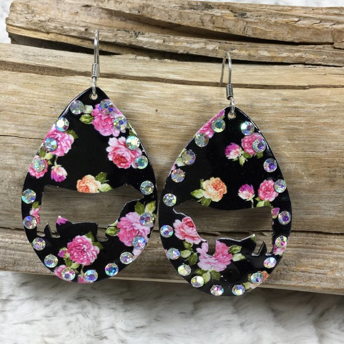 Cow Floral AB Oval Cut Out Earrings