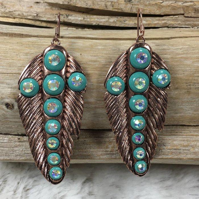 Feather Turq Bling Cross Earrings - COPPER