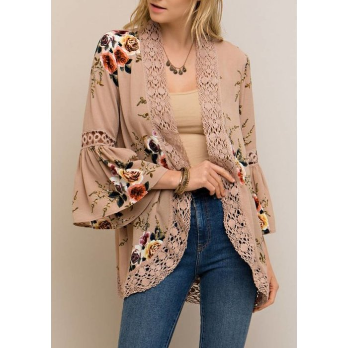 Taupe Lace Trim Floral Cardigan