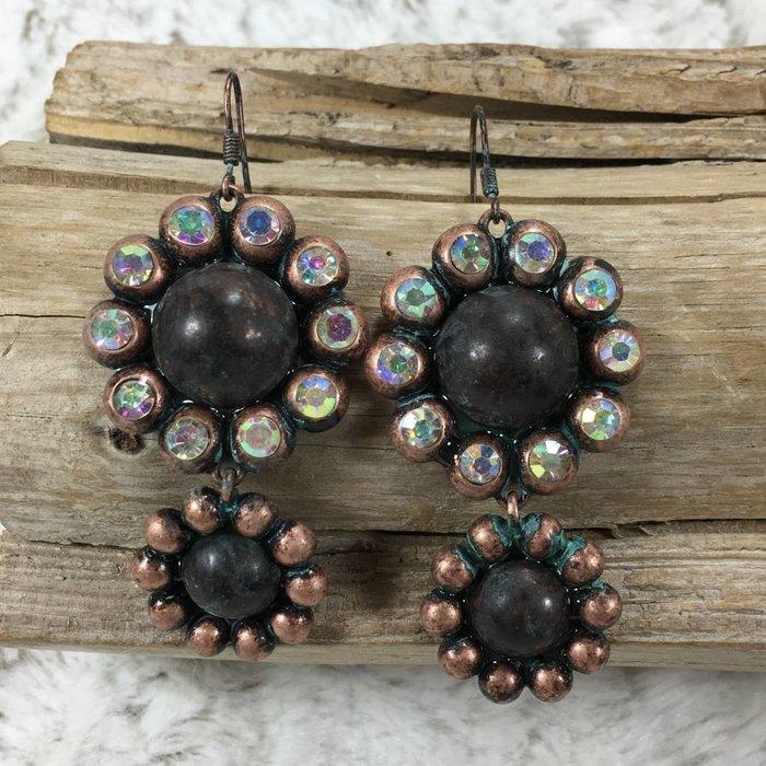 Double Flower Pewter AB Earrings