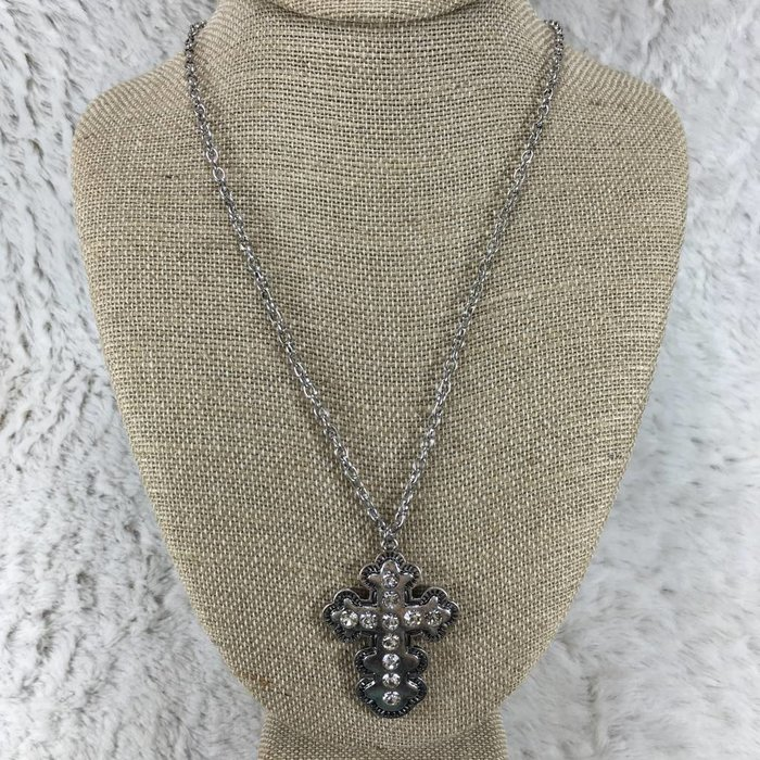Long Aztec Cross Bling Necklace - Silver