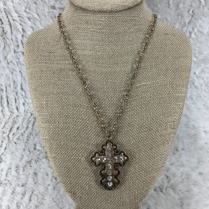 Long Aztec Cross Bling Necklace - Gold