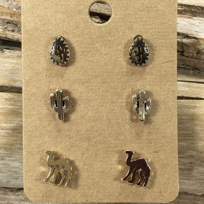 Gold Cactus & Camel Earrings Stud Set (3)