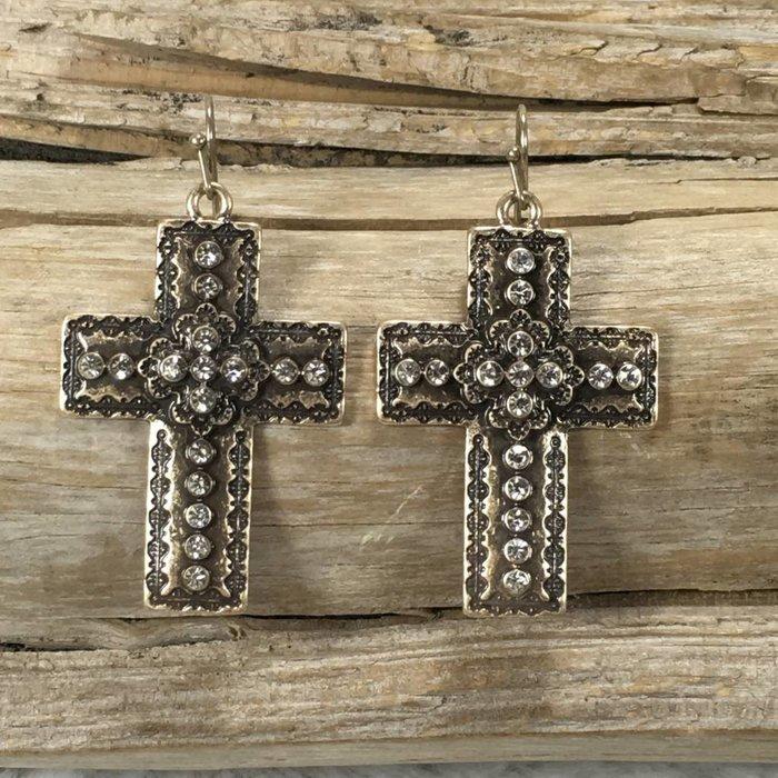 Gold Studded Bling Cross Earrings