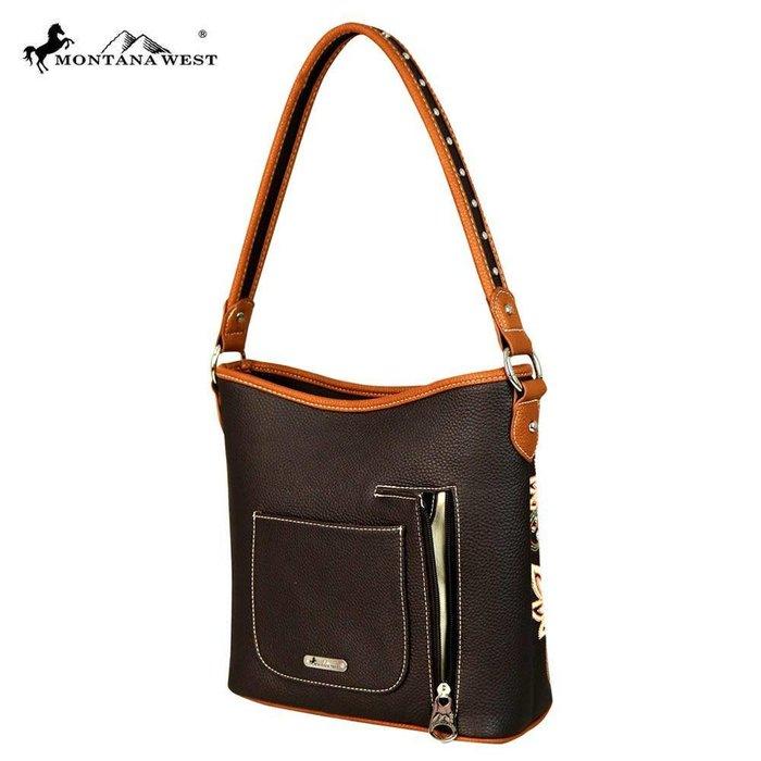 Brown Criss Cross Embroidered Handbag