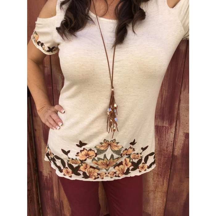 Cold Shoulder Embroidered Cream Tunic