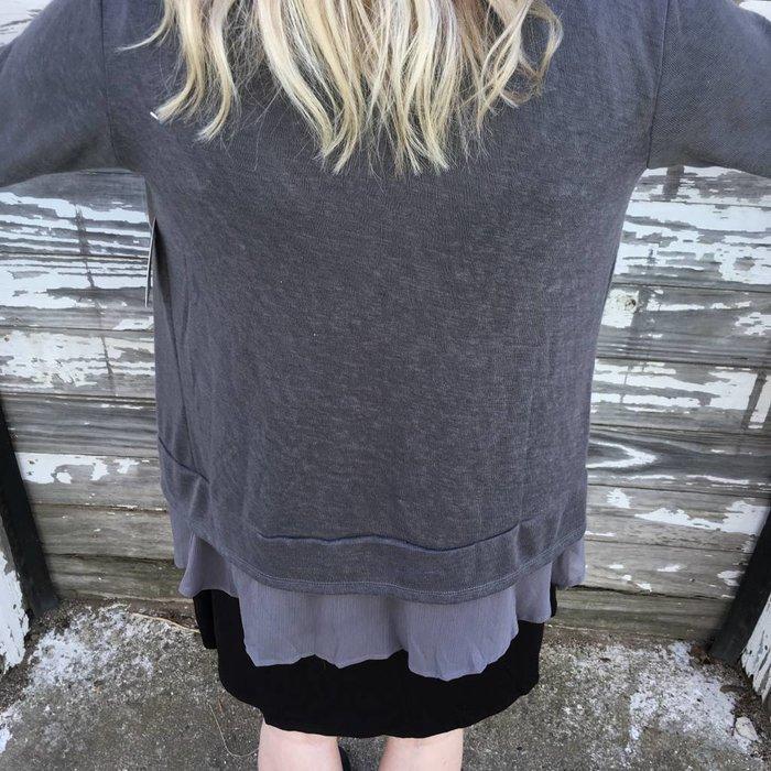 PLUS Grey Sheer Bottom Cardigan