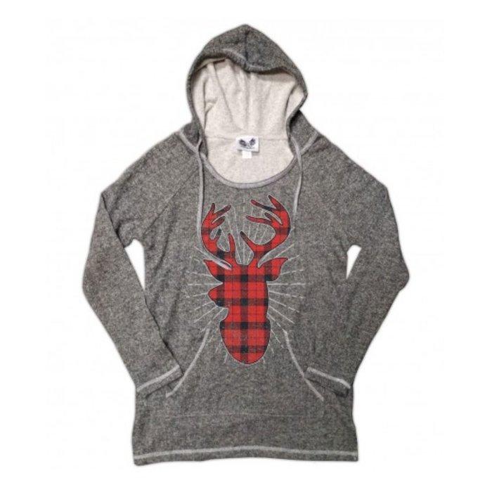 Plaid Deer on Grey Hoodie