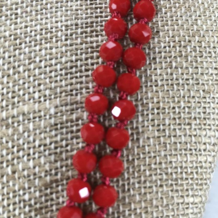 Long Crystal Knotted Necklace - Red