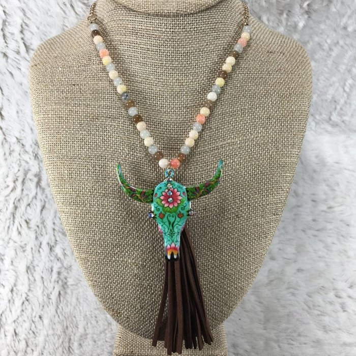 Peach Beaded Bull Skull Tassel Necklace Set