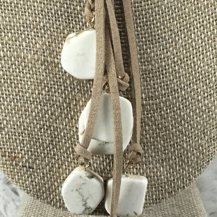 Khaki Leather White Slab Tassel Necklace