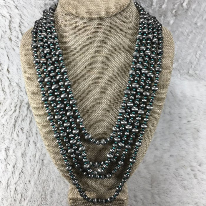 Navajo Pearl Necklace Set - Turq/Silver