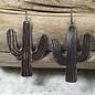 Large Silver Cactus Earrings