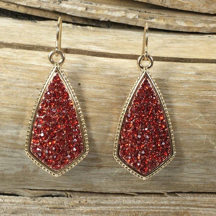 Red Rhinestone Gold Teardrop Earrings