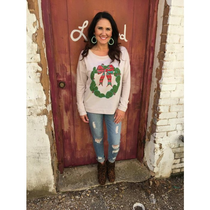 Feliz Navidad Cactus Wreath Slouch Sweater