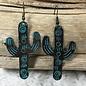 Medium Patina Cactus Earrings