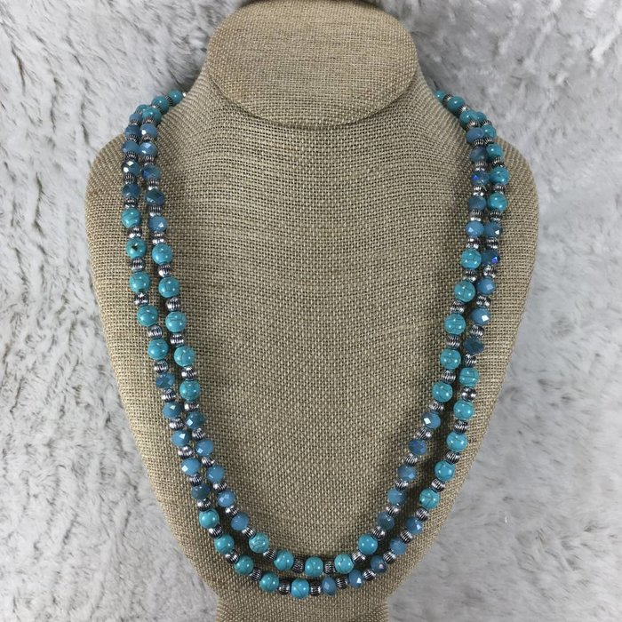 Beaded Turquoise Long Necklace