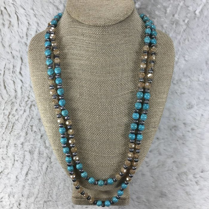 Champagne Beaded Turquoise Long Necklace