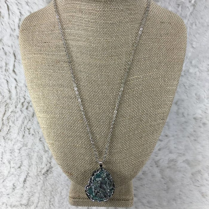 Turquoise Abalone Pave Long Necklace
