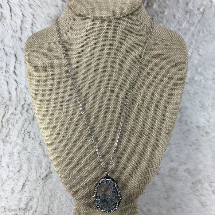 Black Abalone Pave Long Necklace