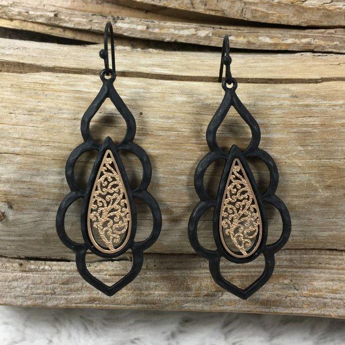 Black Damask Filgree Earrings