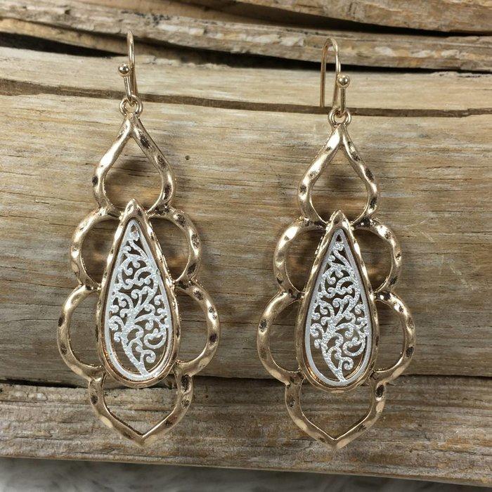 Gold Damask Filgree Earrings
