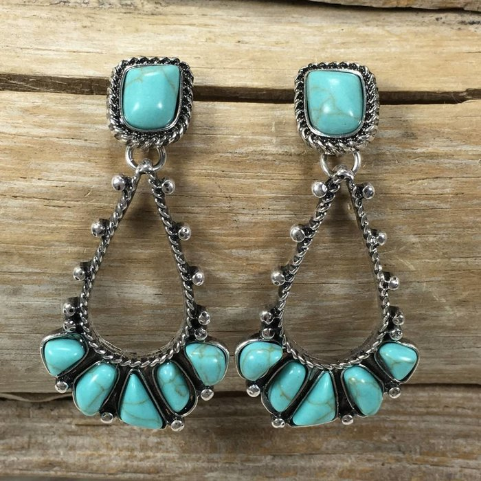 Wild Navajo Turquoise Earrings - SILVER