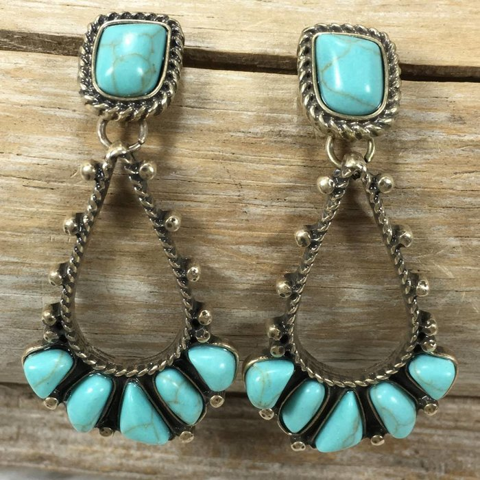 Wild Navajo Turquoise Earrings - GOLD