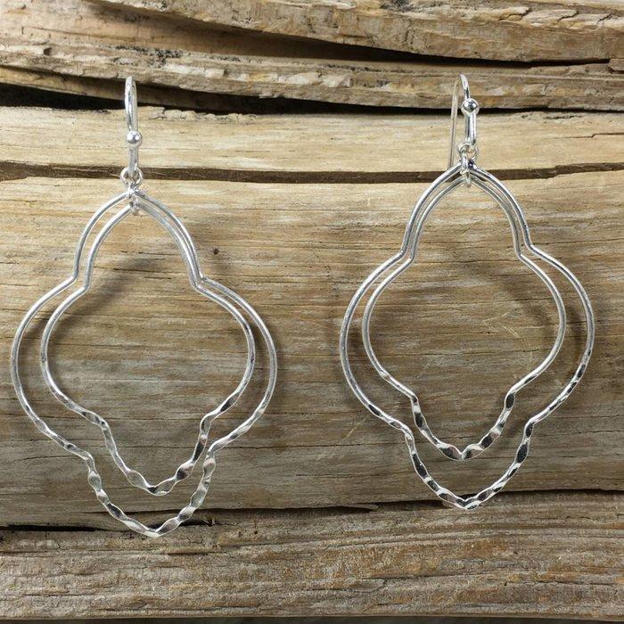Silver Double Damask Earrings