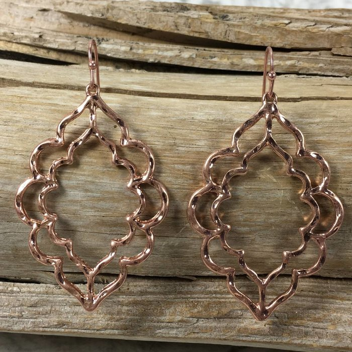 Rose Gold Fashion Hammered Damask Earrings