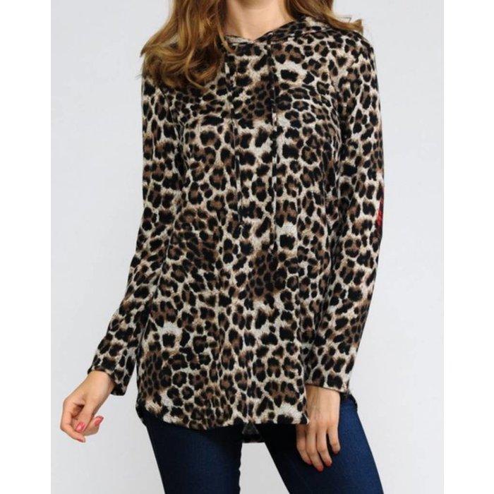 Plus Leopard & Plaid Hoodie