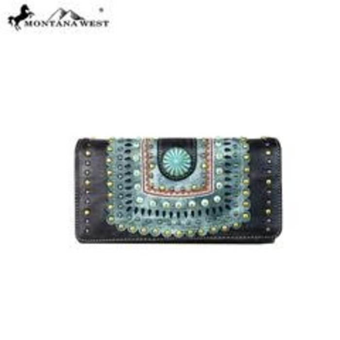 Black Patina Stud Wallet/Wristlet