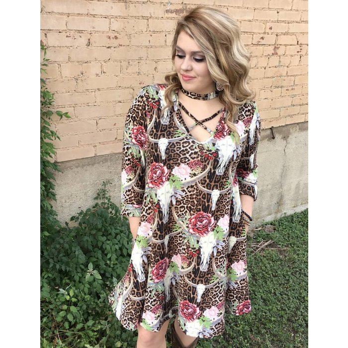 Cowskull Leopard Floral Dress