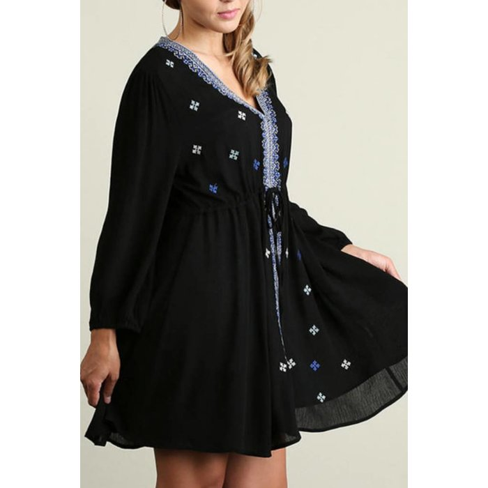 PLUS Black Embroidered Dress