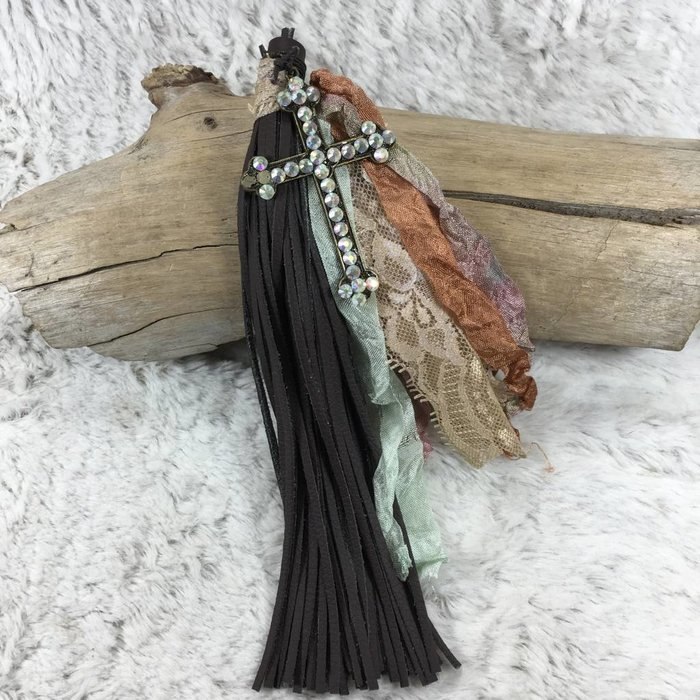 AB Cross Leather & Lace Tassel Keychain