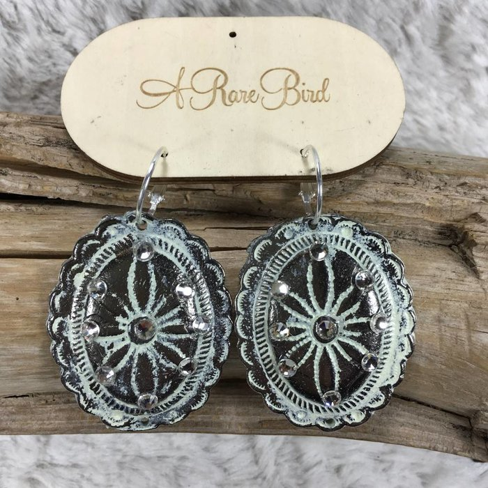 Concho Washed Earrings on Hoops
