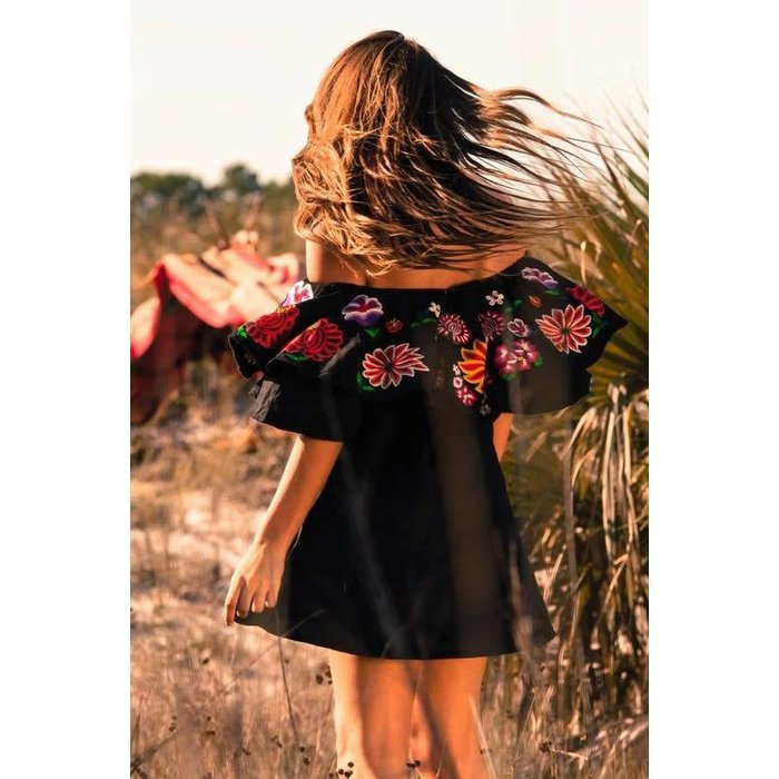 Black Embroidered Double Ruffle Dress