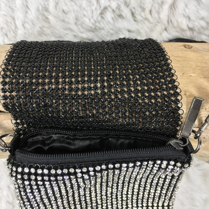 Silver/Black Rhinestone Phone Crossbody Bag