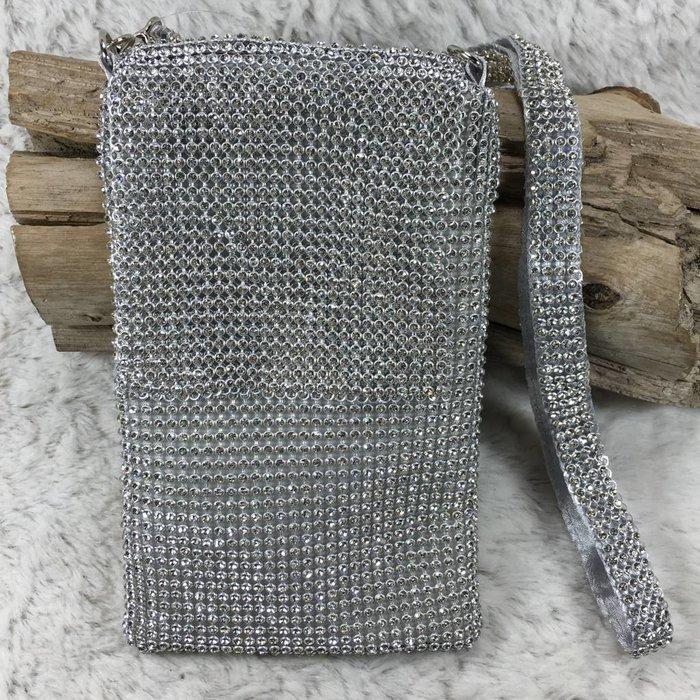 Silver Rhinestone Phone Crossbody Bag