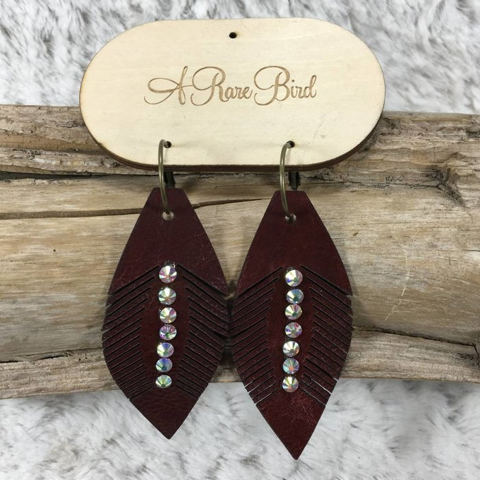 Maroon Leather AB Earrings