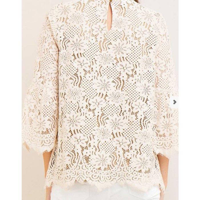 Cream Floral Lace Top