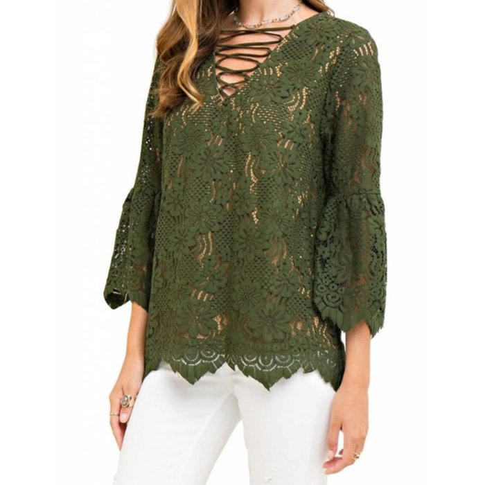 Olive Floral Lace Top