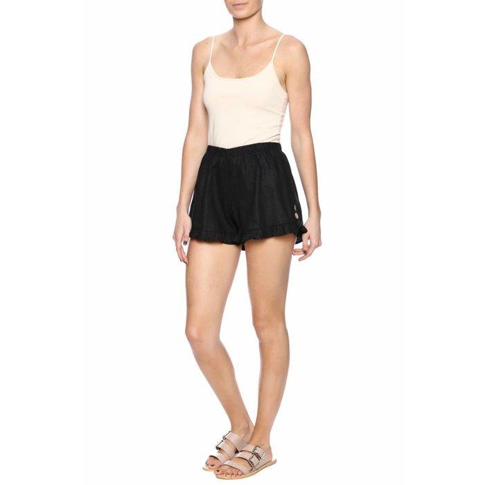 Ruffle Black Linen Shorts