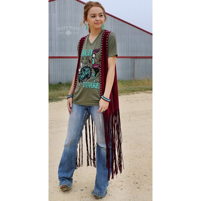 Wyoming Wine Duster Studded Vest - ONE SIZE